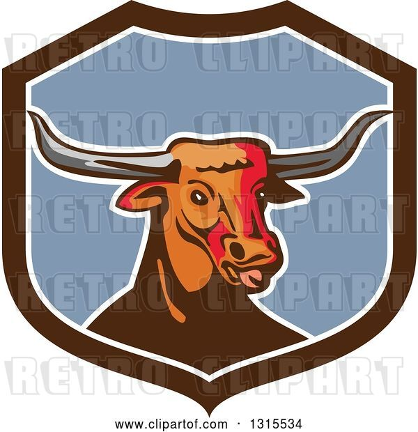 Vector Clip Art of Retro Texas Longhorn Steer Bull in a Brown White and Blue Shield