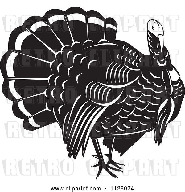 Vector Clip Art of Retro Thanksgiving Turkey Bird
