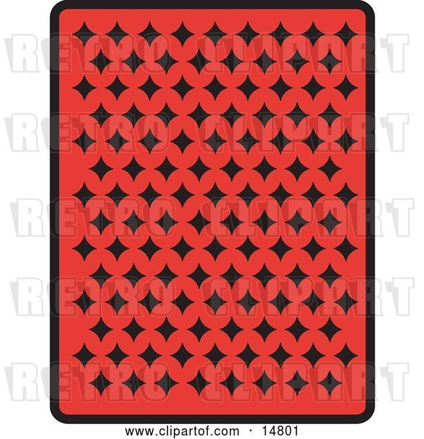 Vector Clip Art of Retro the Back of a Red Playing Card with Black Diamonds