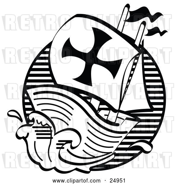 Vector Clip Art of Retro the Mayflower Ship Transporting Pilgrims to America