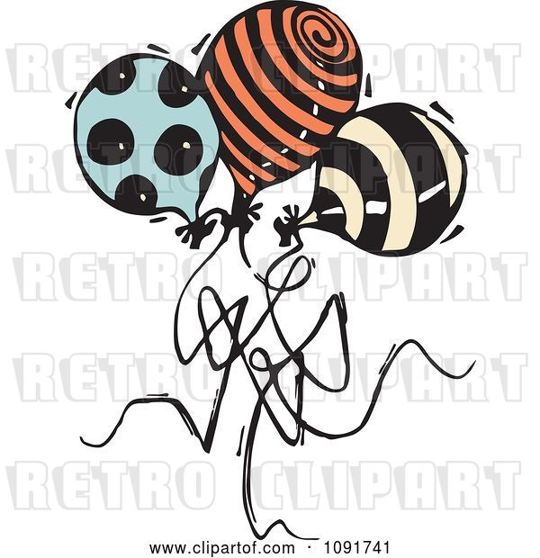 Vector Clip Art of Retro Three Patterned Party Balloons