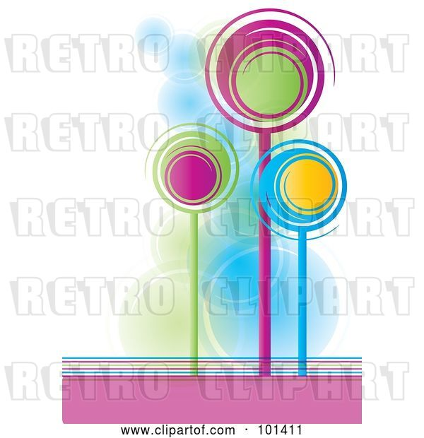 Vector Clip Art of Retro Three Tall, Colorful Spiral Trees