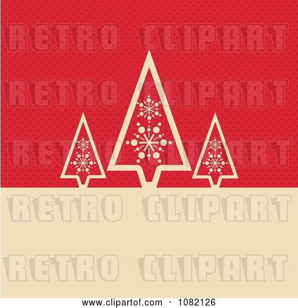 Vector Clip Art of Retro Three Tan Christmas Trees over Red Dots with Copyspace