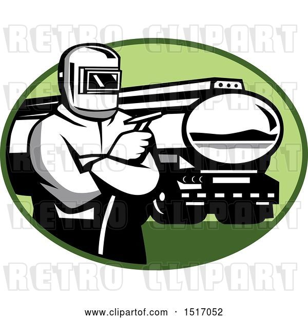 Vector Clip Art of Retro Tig Welder Holding a Torch by a Tanker Truck in an Oval