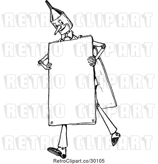 Vector Clip Art of Retro Tin Guy Wearing a Sign