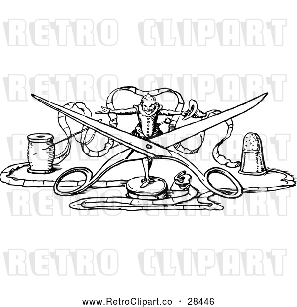 Vector Clip Art of Retro Tiny Man with Scissors and Thread