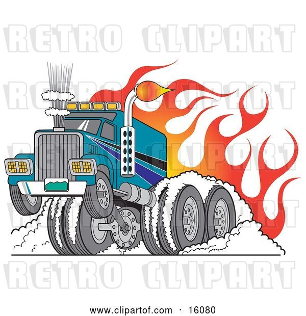 Vector Clip Art of Retro Tough Big Rig Hot Rod Truck Flaming and Smoking Its Rear Tires Doing a Burnout in Flames and a Wheelie