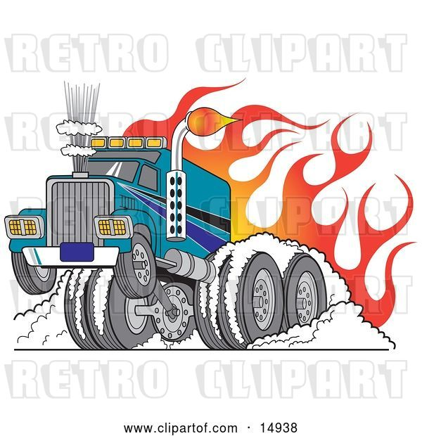 Vector Clip Art of Retro Tough Big Rig Hot Rod Truck Flaming and Smoking Its Rear Tires Doing a Burnout in Flames and a Wheelie Clipart Illustration