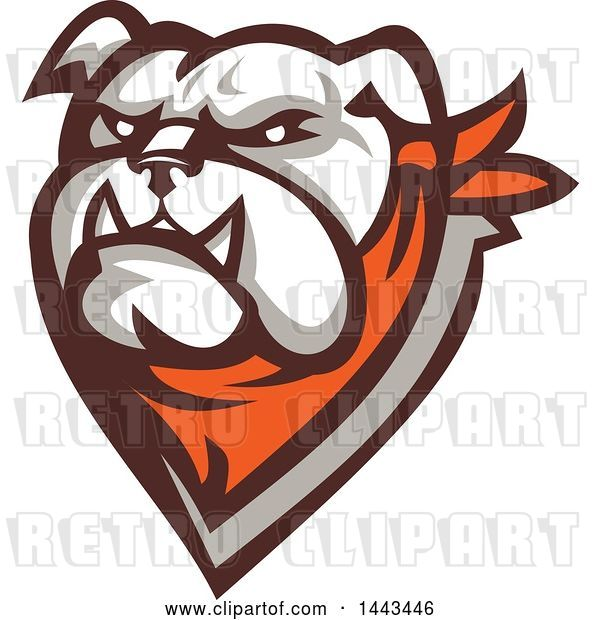 Vector Clip Art of Retro Tough Bulldog Head with a Bandana