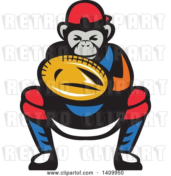 Vector Clip Art of Retro Tough Chimpanzee Monkey Baseball Player Catcher Crouching