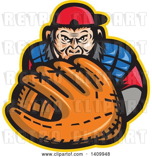 Vector Clip Art of Retro Tough Chimpanzee Monkey Baseball Player Catcher Holding out a Glove
