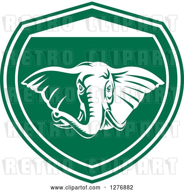 Vector Clip Art of Retro Tough Elephant in a Green and White Shield