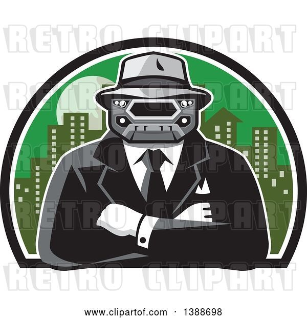 Vector Clip Art of Retro Tough Mobster with a Car Grill Head and Folded Arms Against a City