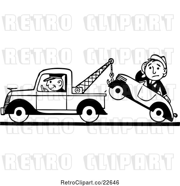 Vector Clip Art of Retro Tow Truck Driver and Guy in a Car