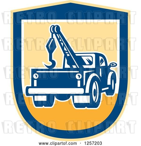 Vector Clip Art of Retro Tow Truck in a Yellow and Blue Shield