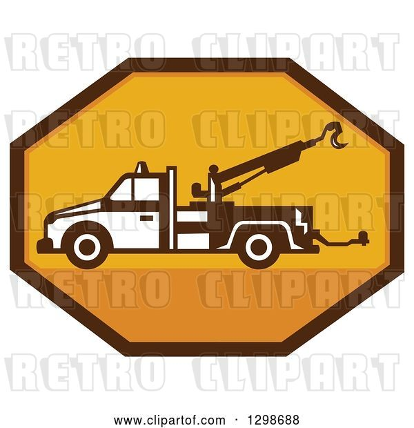 Vector Clip Art of Retro Tow Truck in a Yellow and Brown Octagon