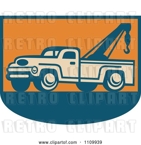 Vector Clip Art of Retro Tow Truck on Orange and Blue