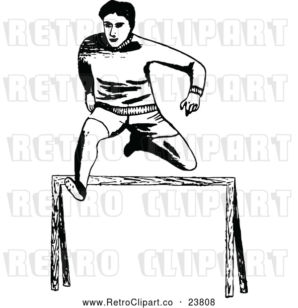 Vector Clip Art of Retro Track Athlete Leaping a Hurdle