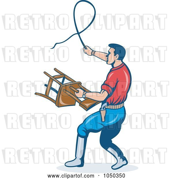 Vector Clip Art of Retro Trainer with a Whip and Chair