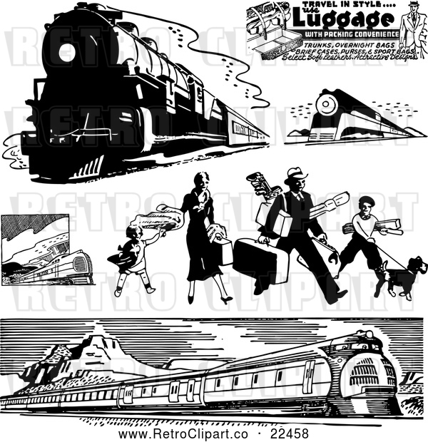 Vector Clip Art of Retro Trains and Traveling Family