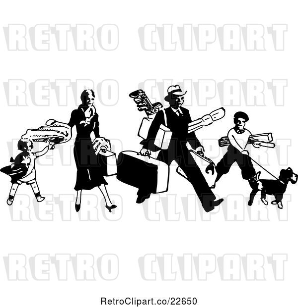 : Vector Clip Art of Retro Traveling Family with Luggage