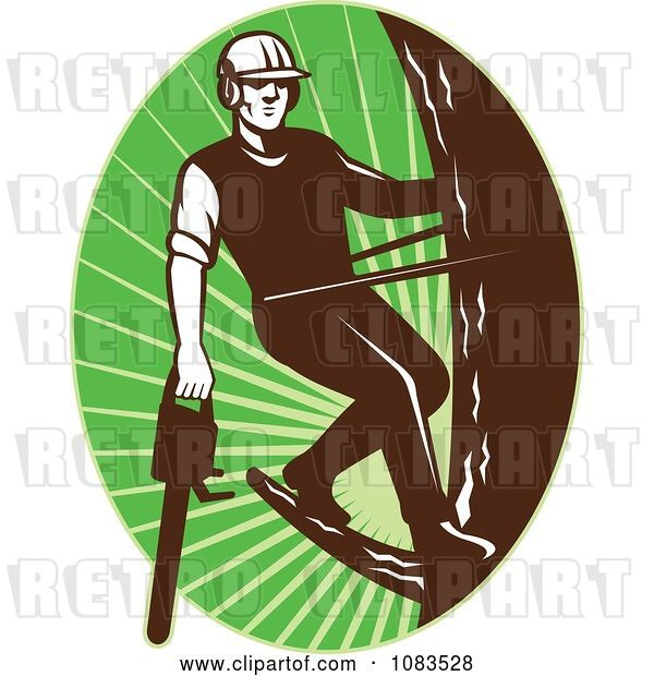 Vector Clip Art of Retro Tree Arborist Climbing with a Chainsaw 2