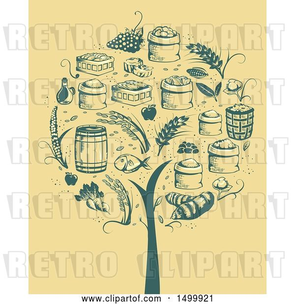 Vector Clip Art of Retro Tree Formed of Agricultural Icons
