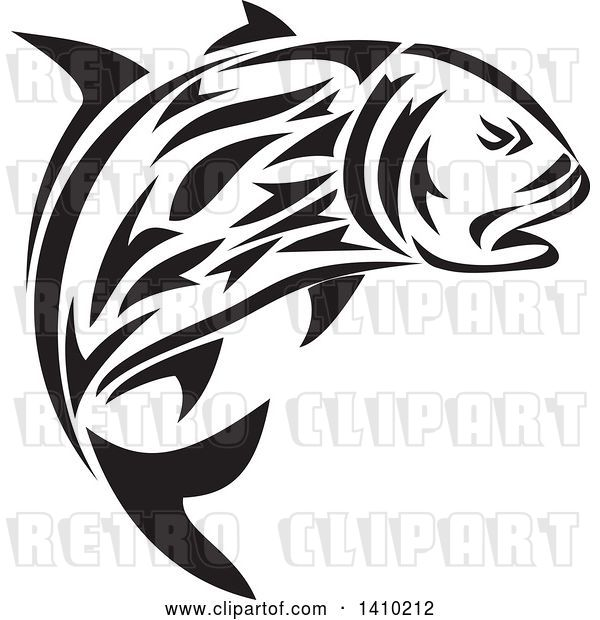 Vector Clip Art of Retro Tribal Art Style Giant Trevally Kingfish