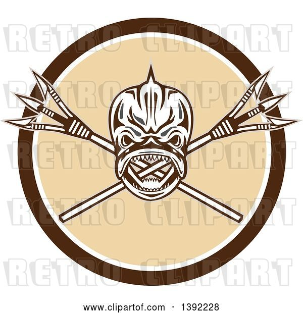 Vector Clip Art of Retro Tribal Skull of Dorado Dolphin Fish Mahi-mahi over Crossed Primitive Spears in a Brown White and Beige Circle