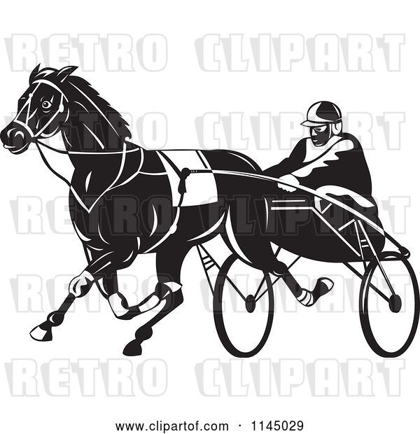 Vector Clip Art of Retro Trotter Harness Horse Racer