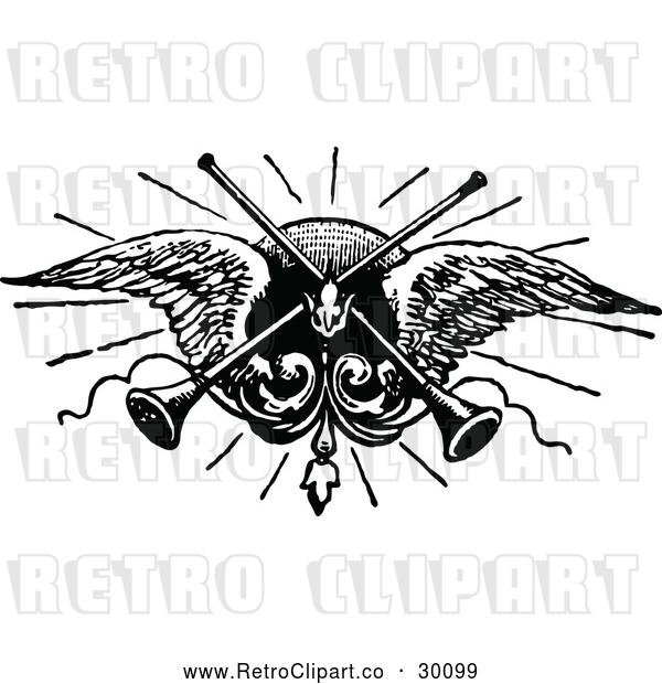 : Vector Clip Art of Retro Trumpets and Angel Wings