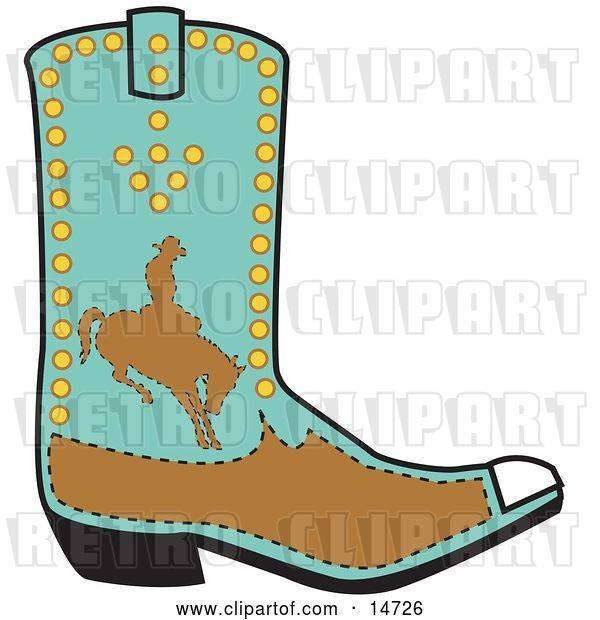 Vector Clip Art of Retro Turquoise and Brown Boot of a Cowboy in Silhouette, Riding a Bucking Bronco