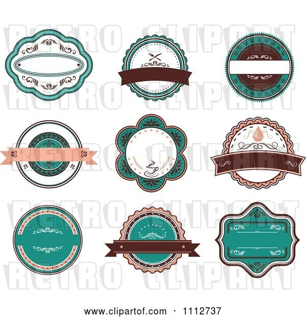 Vector Clip Art of Retro Turquoise and Brown Restaurant Labels