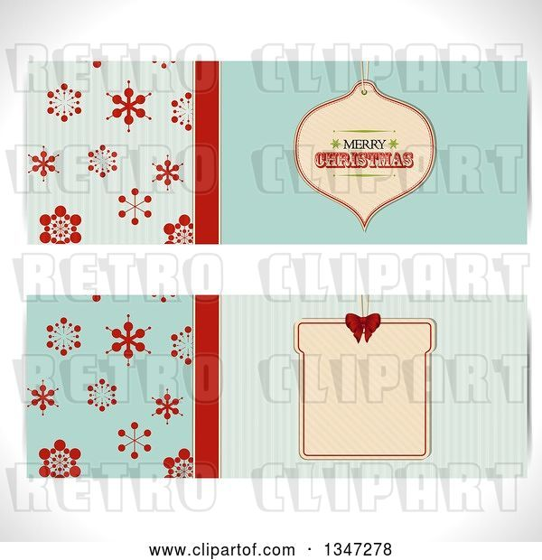 Vector Clip Art of Retro Turquoise and Red Snowflake and Christmas Bauble Ornament Tag Website Banners