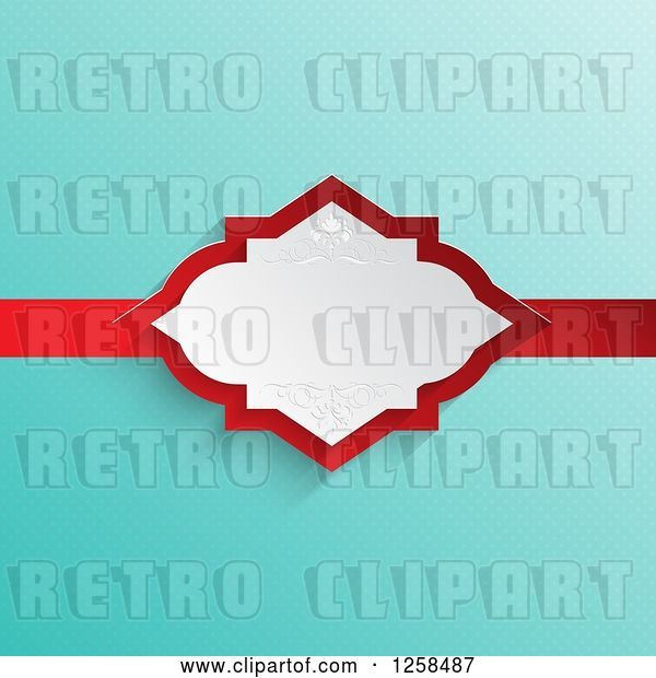 Vector Clip Art of Retro Turquoise Polda Dot Background with a White and Red Ribbon Frame