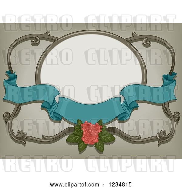 Vector Clip Art of Retro Turquoise Ribbon Banner with a Pink Rose and a Frame