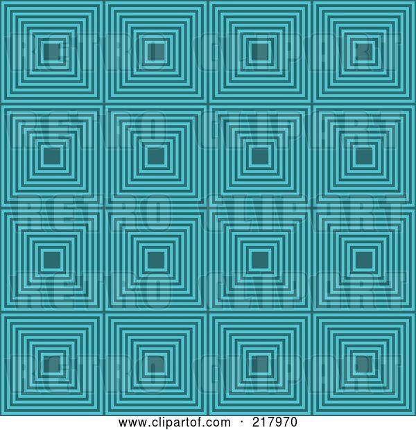 Vector Clip Art of Retro Turquoise Square Pattern Background