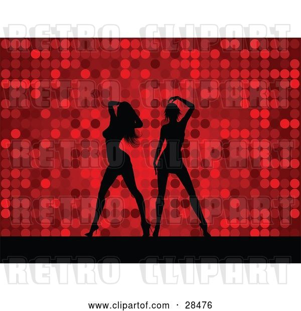 Vector Clip Art of Retro Two Black Silhouetted Women Dancing over a Red Dotted Background