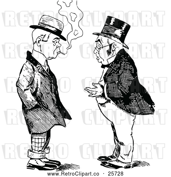 Vector Clip Art of Retro Two Men Talking 5