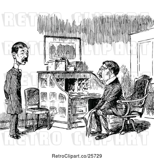 Vector Clip Art of Retro Two Men Talking by a Desk