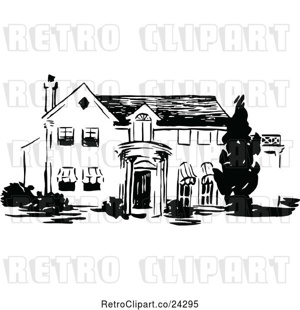 Vector Clip Art of Retro Two Story House