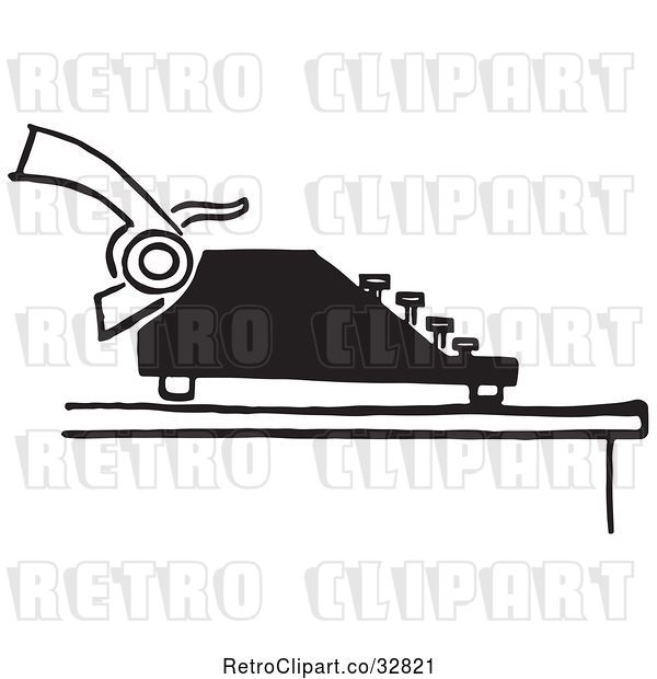 Vector Clip Art of Retro Typewriter and Page