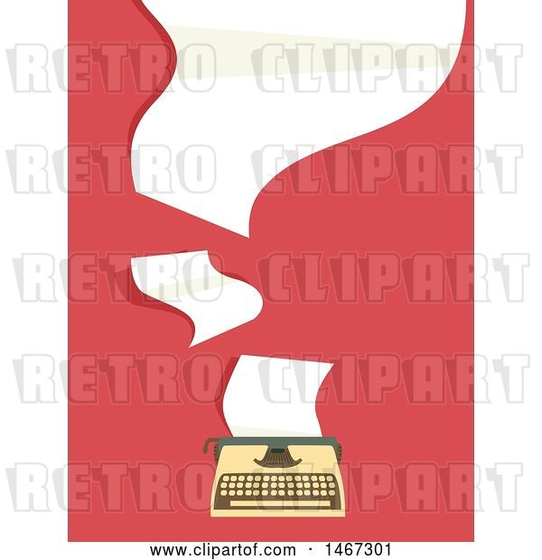 Vector Clip Art of Retro Typewriter with Flying Papers