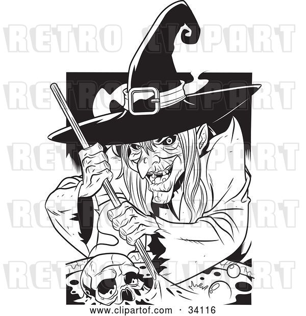 Vector Clip Art of Retro Ugly Warty Witch Grinning While Stirring a Skull and Potion in a Spell Cauldron