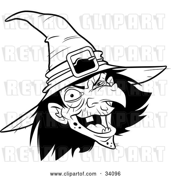 Vector Clip Art of Retro Ugly Warty Witch in a Hat, Laughing