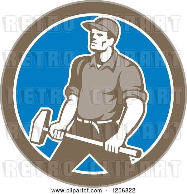 Vector Clip Art of Retro Union Worker Carrying a Sledgehammer in a Brown White and Blue Circle