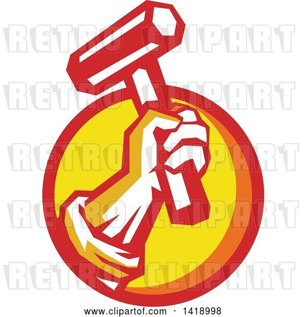 Vector Clip Art of Retro Union Worker Hand Holding up a Hammer or Mallet in a Red Orange and Yellow Circle