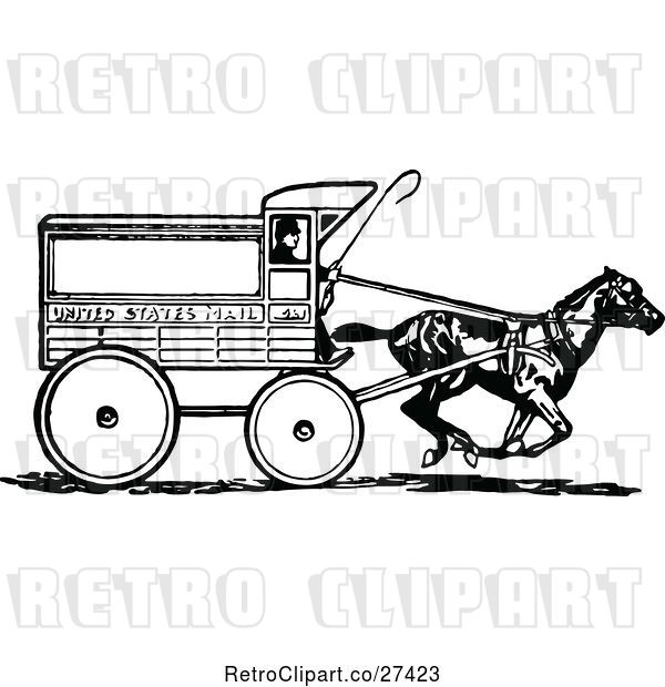 Vector Clip Art of Retro United States Mail Cart