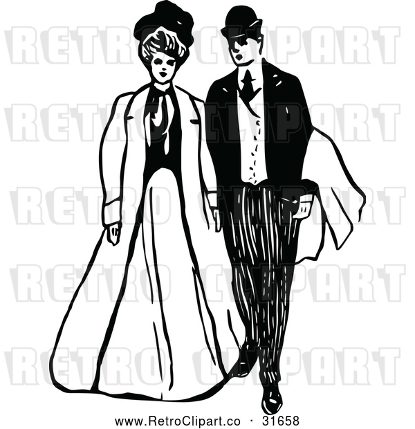 Vector Clip Art of Retro Victorian Couple 2