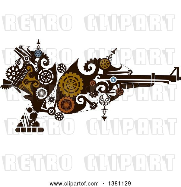 Vector Clip Art of Retro Victorian Steampunk Riffle with Gears